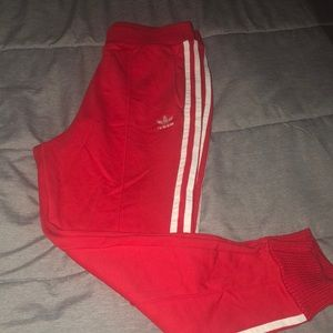 Adidas 3-stripe radiant red and white track pants